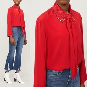 NWT Sandro Ines Embellished Collar Button Shirt